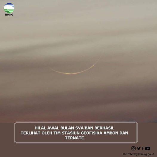 Foto-foto Bulan Sabit (Hilal) 1 Sya'ban 1441 H (2020 M)