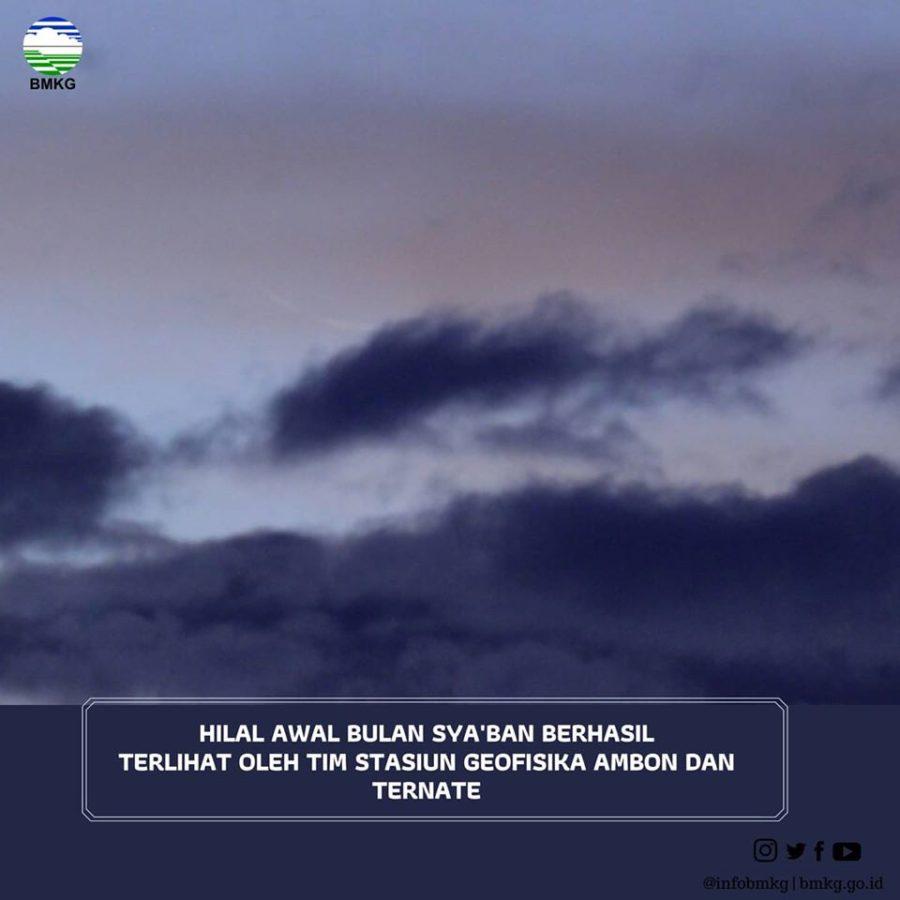 Foto hilal atau bulan sabit tipis 1 Sya'ban 1441 H terlihat dari Ternate, Maluku pada Rabu, 25 Maret 2020 M.