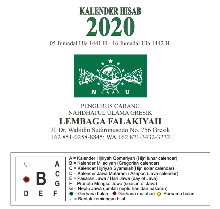Kalender Islam 2020 versi Hisab Lembaga Falakiyah NU Gresik