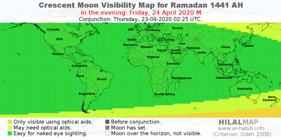 Crescent moon visibility map for 1 Ramadan 1441 AH on Friday, 24 April 2020.