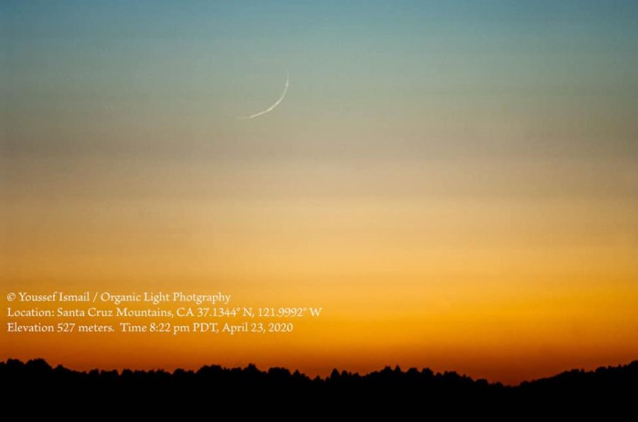 Crescent moon of 1 Ramadan 1441 AH from the evening of Thursday, 23 April 2020 from Santa Cruz Mountains, California, USA