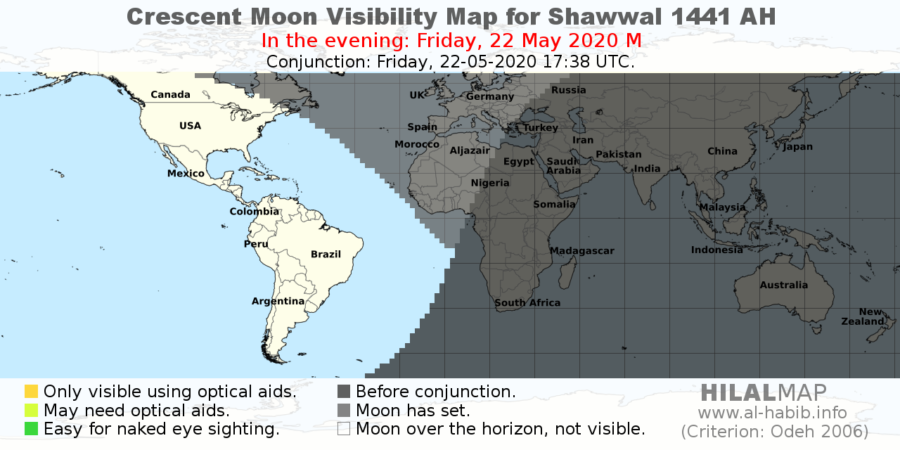 Crescent visibility map for Shawal 1441 AH on Friday, 22 May 2020. Most part of the world will not be able to sight the crescent moon (hilal).