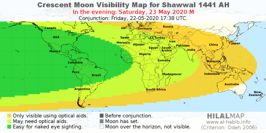 Crescent visibility map for Shawal 1441 AH on Saturday, 23 May 2020. Most part of the world will be able to sight the crescent moon (hilal).