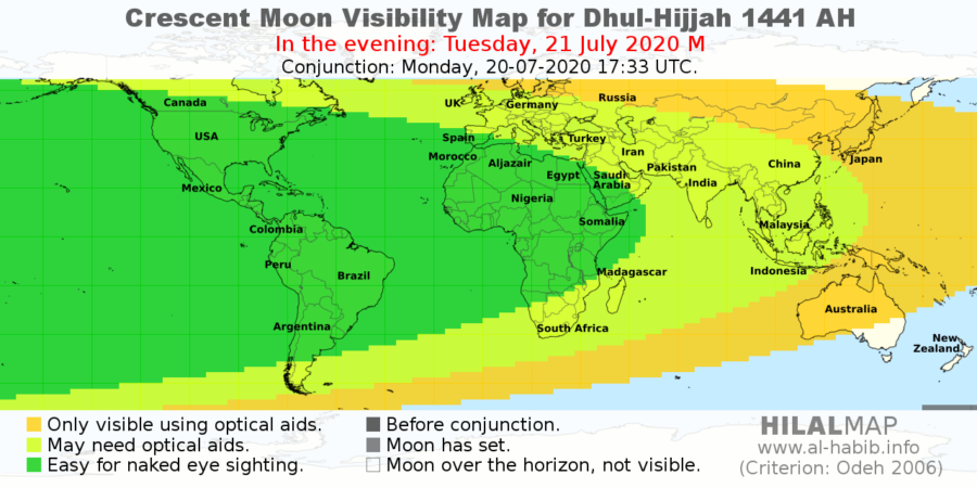 Crescemt Moon Visibility Map for 1 Dhul-Hijja 1441 AH on Tuesday, 21 July 2020. Many parts of the world, especially western hemisphere, will be able to see the crescent moon.