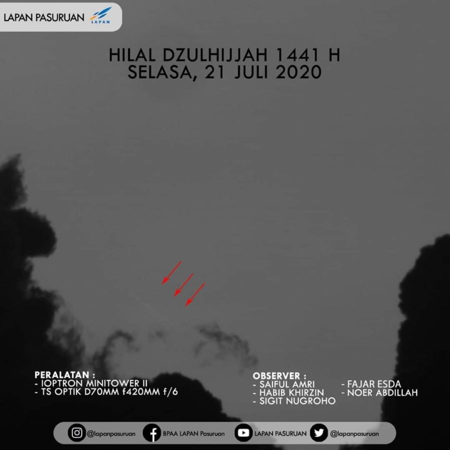 Crescent moon photo taken via telescope from Pasuruan, East Java, Indonesia on the evening of Tuesday, 21 July 2020 (LAPAN, Pasuruan). This makes 1 Dhul-Hijja 1441 to start on Wednesday, 22 July 2020.
