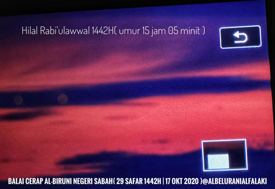 Foto bulan sabit (hilal) 1 Rabiul Awal 1442 H yg terlihat melalui teleskop dari Sabah, Malaysia (Balai Cerap Al Biruni) pada petang hari Sabtu, 17 Oktober 2020 M.