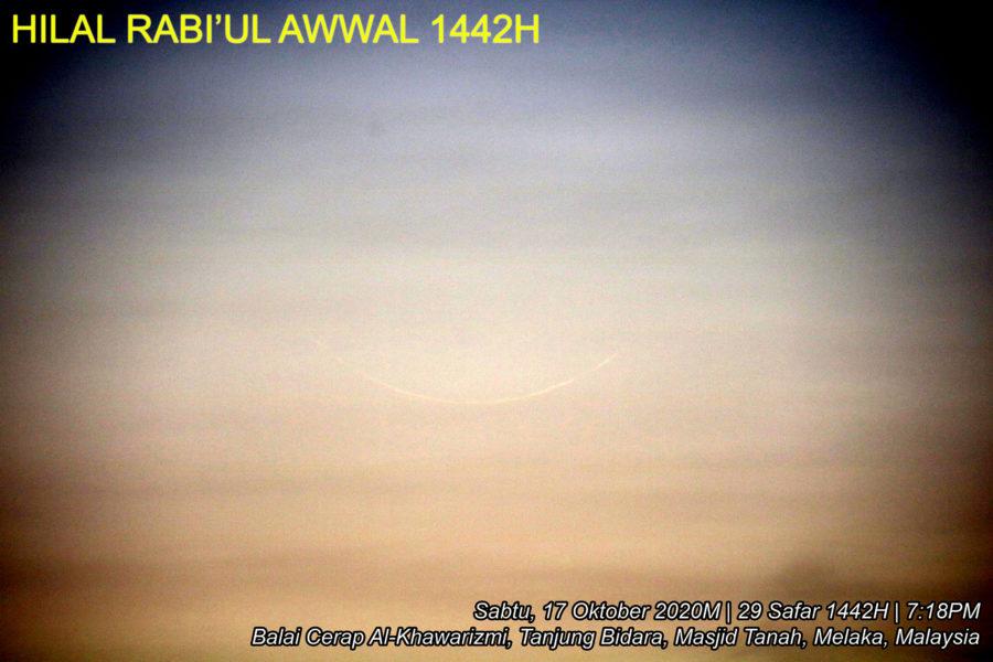 Photo of the crescent moon of 1 Rabiul Awwal 1442 AH taken through telescope from Melaka, Malaysia (Balai Cerap Khawarizmi)