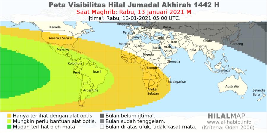 Peta visibilitas hilal Jumadal Akhirah 1442 H pada petang hari Rabu, 13 Januari 2021 M. Hilal diperkirakan bisa dilihat di wilayah benua Amerika Selatan.