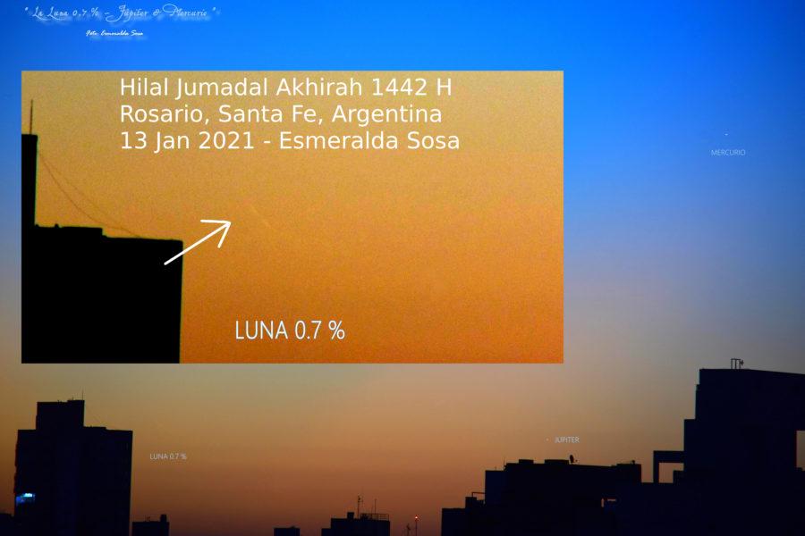 Foto hilal 1 Jumadal Akhirah 1442 H yang dipotret oleh Esmeralda Sosa dari Rosario, Santa Fe, Argentian pada petang hari Rabu, 13 Januari 2021 M (https://esplaobs02.blogspot.com/2021/01/la-luna-07-jupiter-mercurio-desde.html).