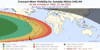 Crescent moon visibility map for Jumadal Akhirah 1442 AH on Wednesday, 13 January 2021. Parts of South America will have better chance to see the crescent moon.