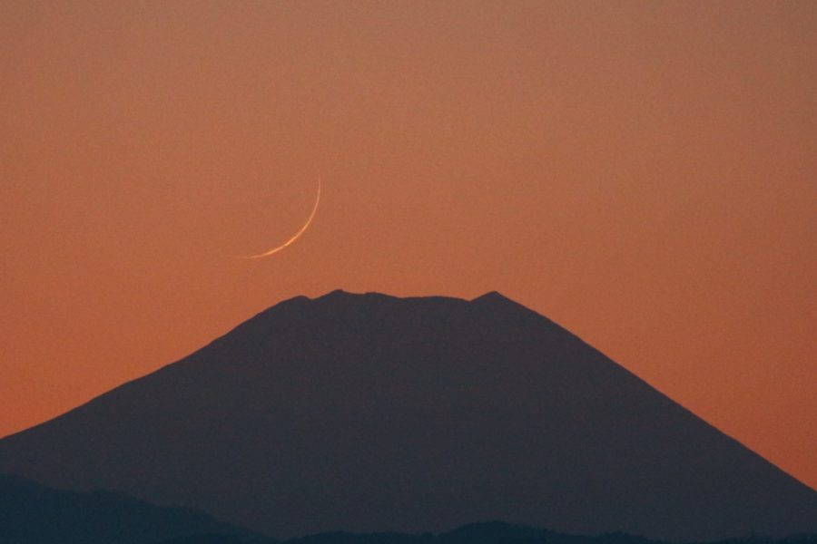 Photo of the crescent moon of Jumadal Akhirah 1442 AH as taken from Japan on Thursday evening.