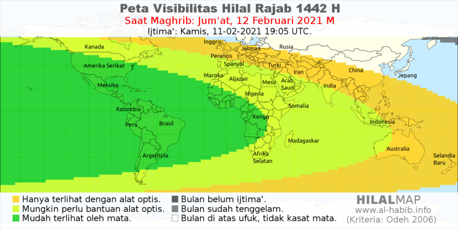 Peta visibilitas hilal 1 Rajab 1442 H pada petang hari Jumat, 12 Feb 2021 di seluruh dunia. WIlayah Afrika dan Amerika akan dengan mudah melihat bulan sabit dengan mata telanjang.