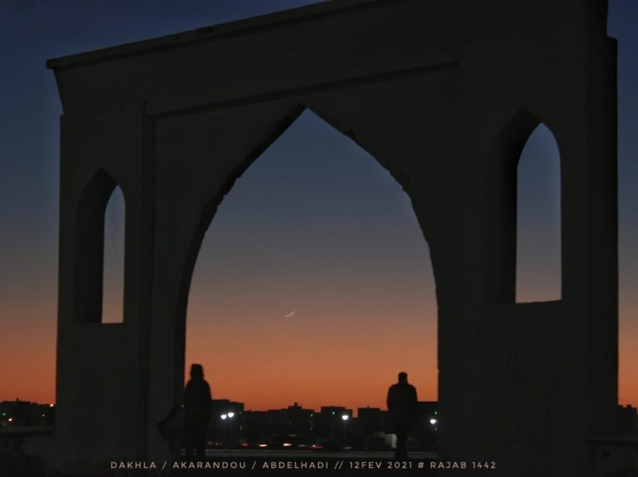 Photo of the crescent moon (hilal) of 1 Rajab 1442 AH taken from Morocco (visible with naked eye) on Friday, 12 Feb 2021.