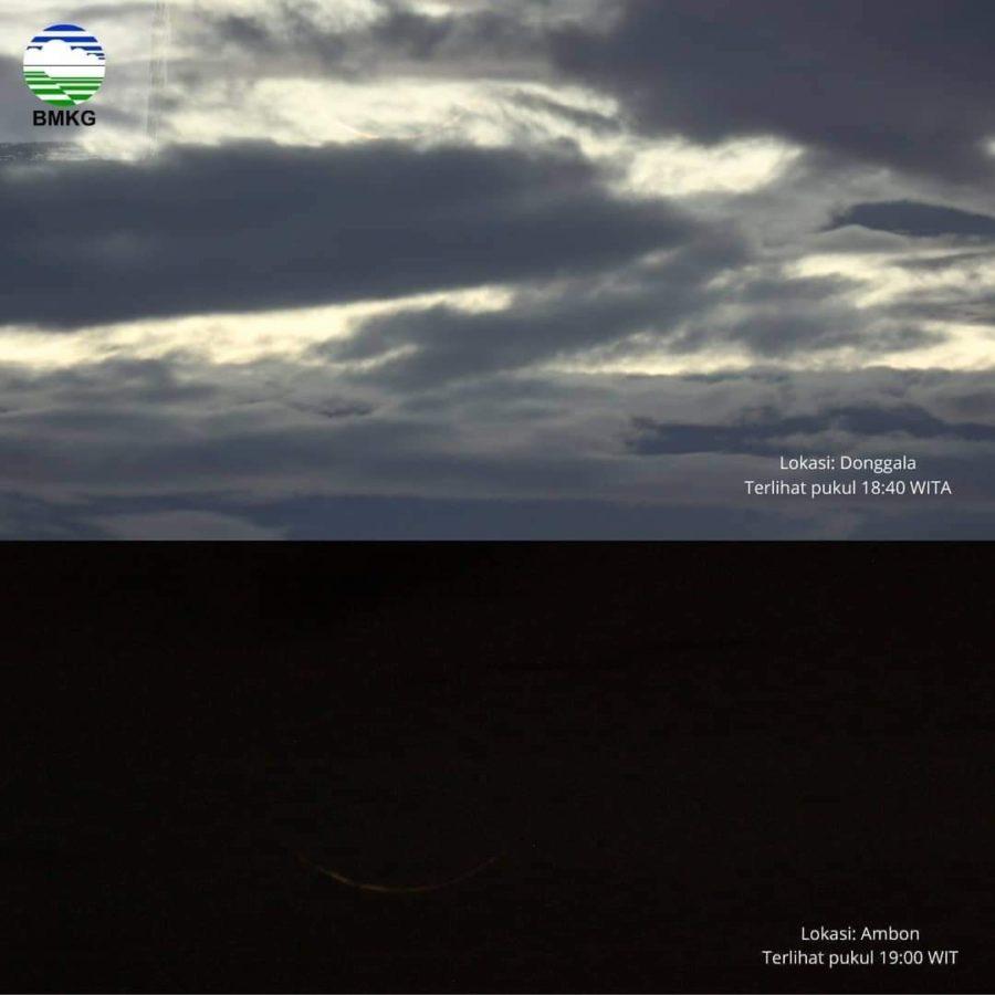 Foto hilal 1 Sya'ban 1442 H terlihat secara kasat mata dari Donggala dan Ambon, Indonesia pada petang hari Ahad, 14 Maret 2021 (BMKG).