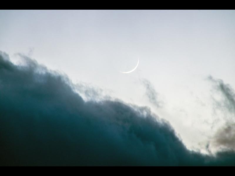 Foto hilal, bulan sabit, 1 Sya'ban 1442 H pada hari Ahad, 14 Maret 2021 dari Massachusetts (Hamdi, ICOP)