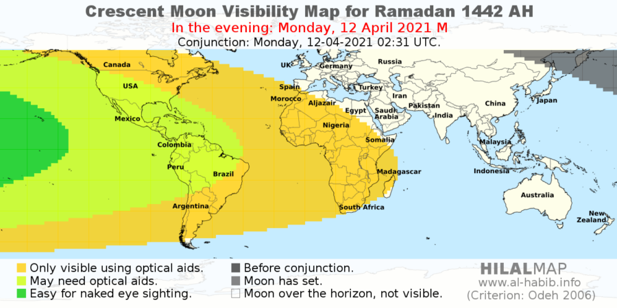 Crescent moon visibility for Ramadan 1442 AH on the evening of Monday, 12 April 2021. Only those in the american continent will have a chance to see the hilal by naked eye.