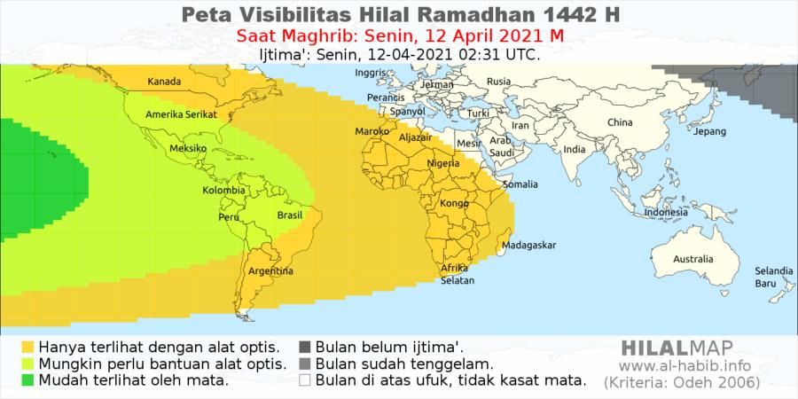 Peta visibilitas hilal 1 Ramadhan 1442 H pada petang hari Senin, 12 April 2021. Bulan sabit hanya akan mungkin terlihat dari wilayah benua Amerika menggunakan mata telanjang.