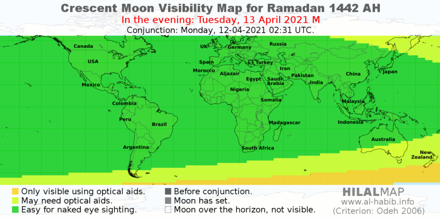 Crescent moon visibility for Ramadan 1442 AH on the evening of Tuesday, 13 April 2021. Most of the world will have a chance to see the hilal by naked eye.