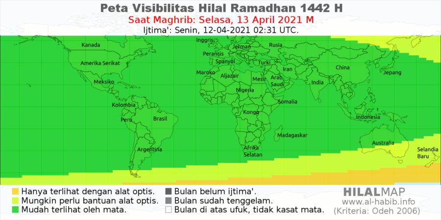 Peta visibilitas hilal 1 Ramadhan 1442 H pada petang hari Selasa, 13 April 2021. Bulan sabit akan mudah terlihat dengan mata telanjang di seluruh dunia.