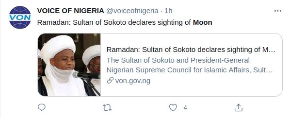 Sultan Sokoto dari Nigeria menyatakan bahwa bulan sabit Ramadan 1442 H telah terlihat di wilayahnya pada petang hari Senin, 12 April 2021.