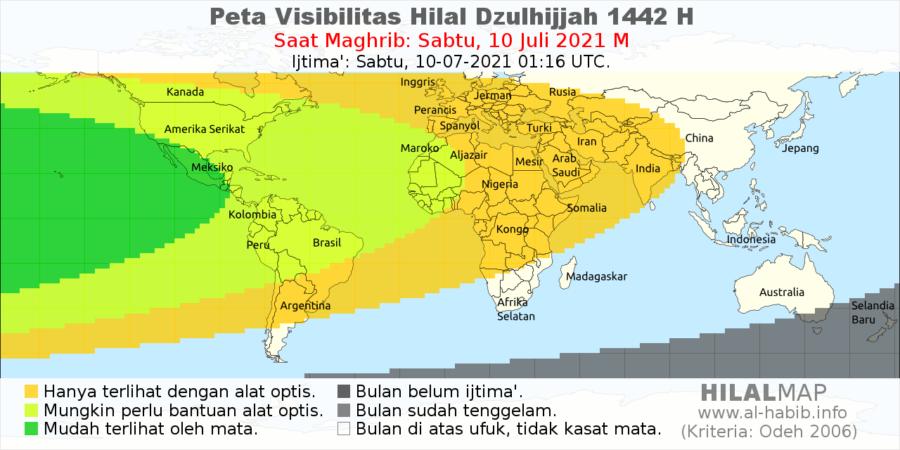 Peta visibilitas hilal 1 Dzulhijjah 1442 H pada petang hari Sabut, 10 Juli 2021. Wilayah benua Amerika bisa menyaksikan bulan sabit secara kasat mata. Dengan demikian 1 Dzulhijjah 1442 H jatuh pada Ahad, 11 Juli 2021.