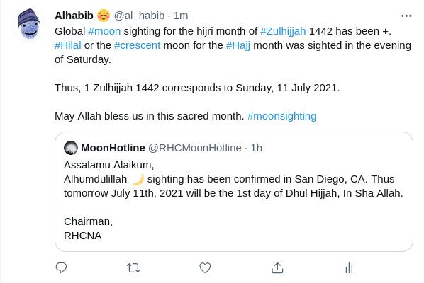 Laporan rukyatul hilal 1 Dzulhijjah 1442 H dari wilayah Kalifornia, AS.