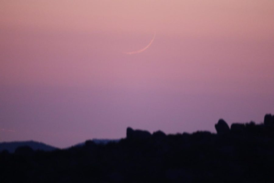 Photograph of the first visible crescent moon of 1 Zulhijjah 1442 AH visible to un-aided eyes on the evening of Saturday, 10 July 2021 from California, USA.