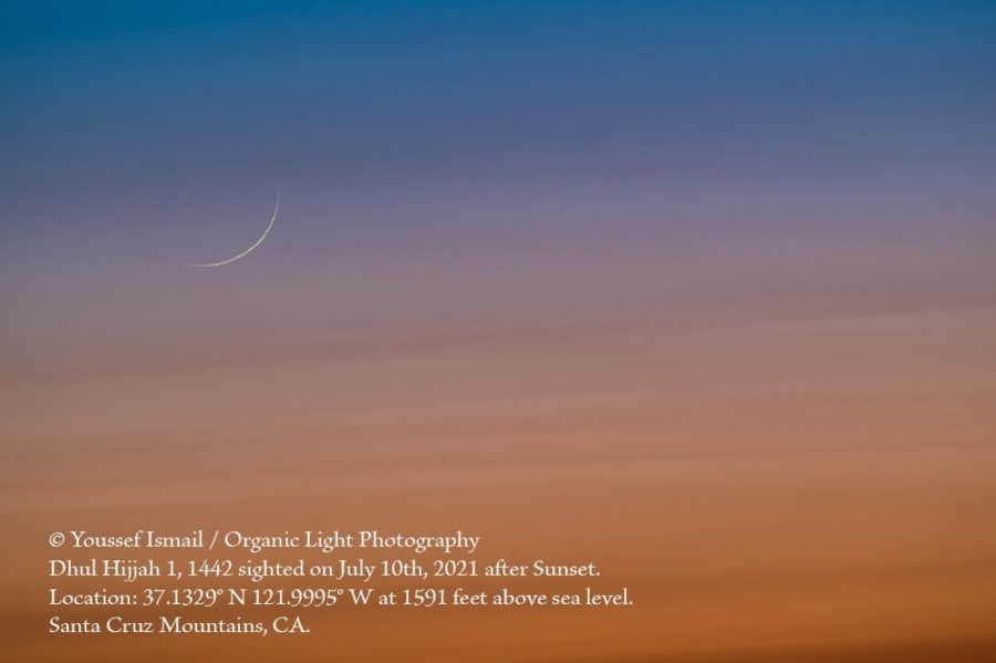 Photograph of the first visible crescent moon of 1 Zulhijjah 1442 AH visible to un-aided eyes on the evening of Saturday, 10 July 2021 from California, USA (Youssef Ismail).
