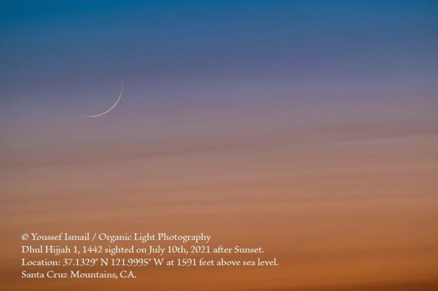 Foto bulan sabit (hilal) 1 Dzulhijjah 1442 H yang terlihat oleh mata telanjang pada hari Sabtu, 10 Juli 2021 dari wilayah Santa Kruz, Kalifornia, AS (Youssef Ismail).