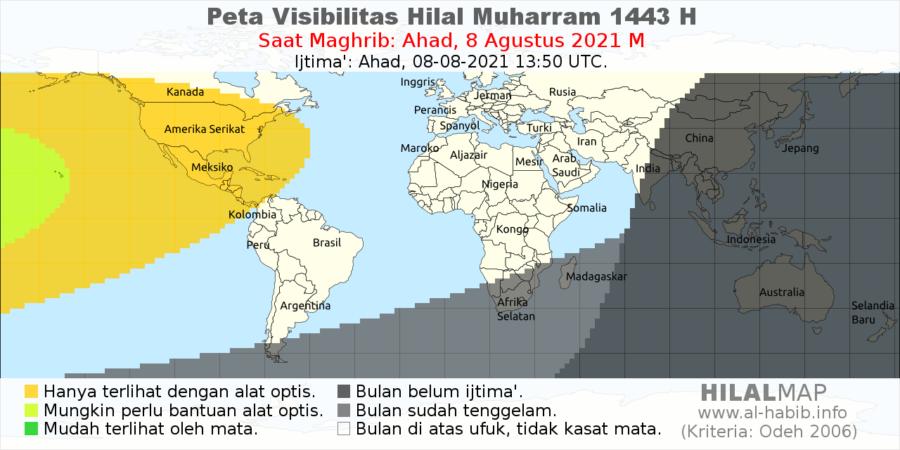 Peta visibilitas hilal 1 Muharram 1443 H pada petang hari Ahad, 8 Agustus 2021. Terlihat bahwa sebagian besar wilayah dunia tak akan bisa melihat hilal 1 Muharam 1443 H pada petang hari Ahad.