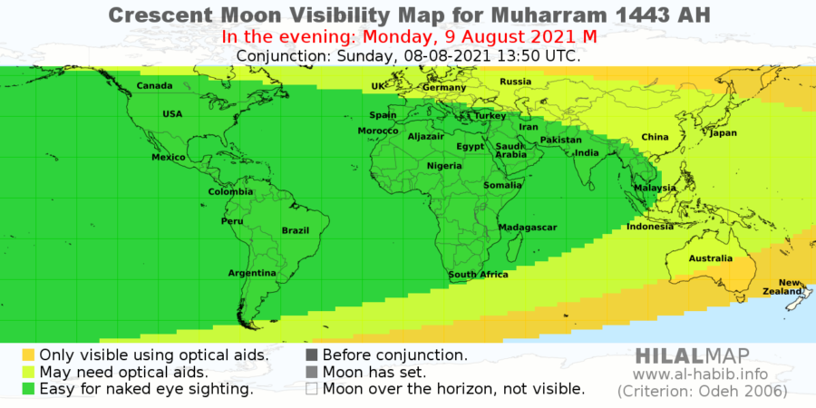 The crescent moon visibility map for 1 Muharram 1443 on the evening of Monday, 9 August 2021. Most part of the world would be able to sight the crescent moon (hilal) and therefore start 1 Muharam 1443 AH on Tuesday, 10 August 2021.