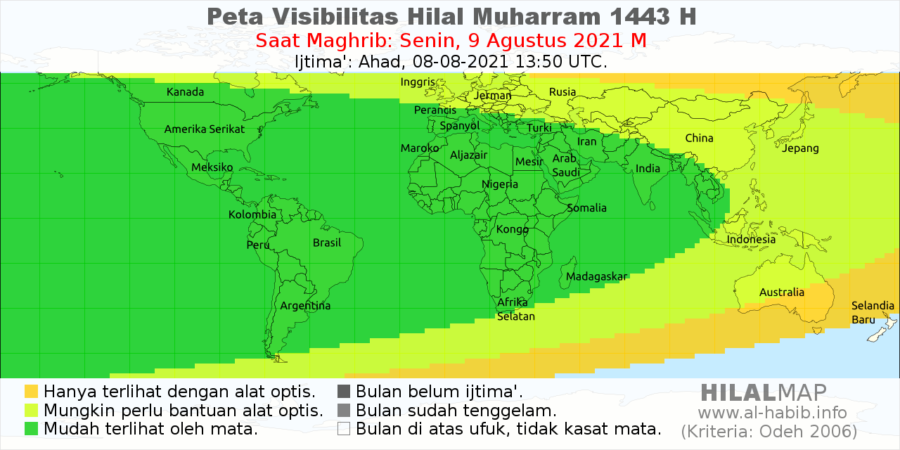 Peta Visibilitas Hilal 1 Muharram 1443 H pada hari Senin, 9 Agustus 2021. Terlihat bahwa sebagian besar wilayah dunia akan bisa melihat bulan sabit 1 Muharram 1443 H.